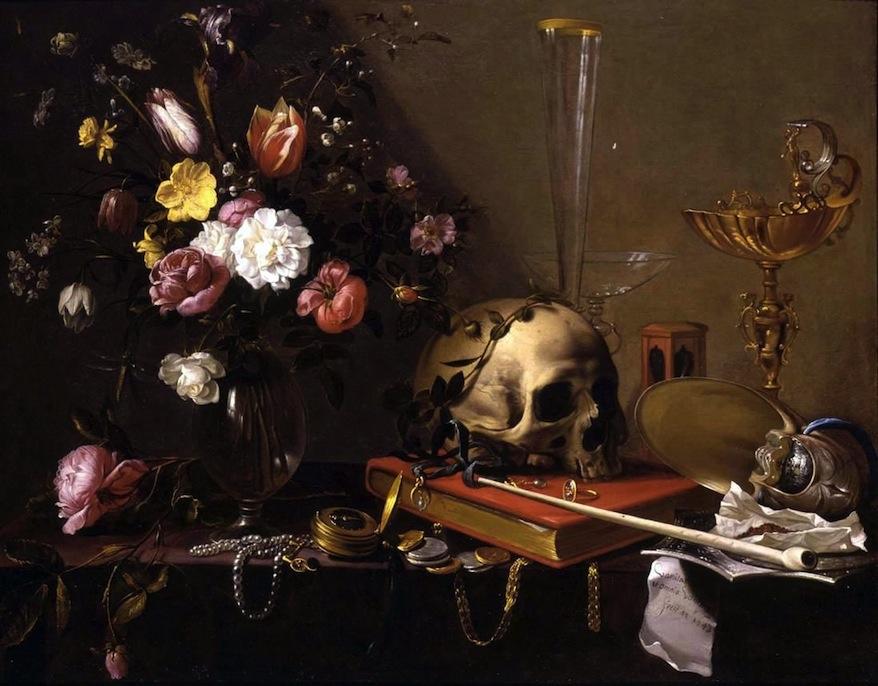 Adriaen_van_Utrecht-_Vanitas_-_Still_Life_with_Bouquet_and_Skull-1642