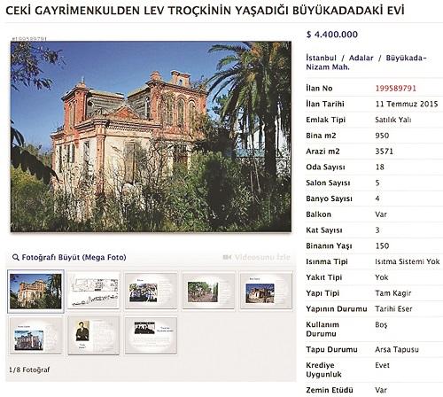 خانه تروتسکی در استانبول ۴ میلیون دلار