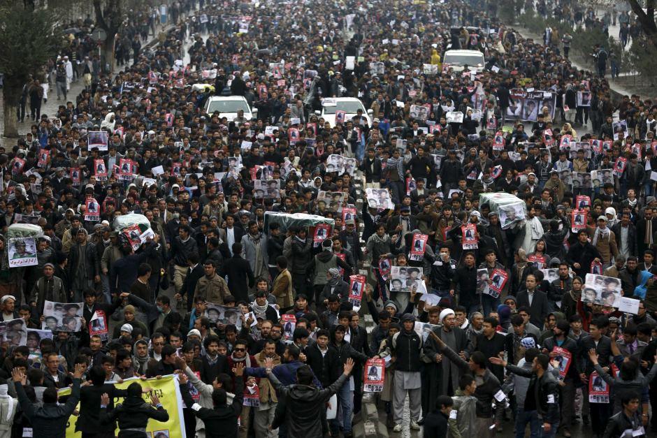 تظاهرات کابل در اعتراض به قتل ۷ افغان هزارهای