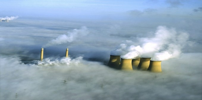 High Marnham power station in fog from the air.