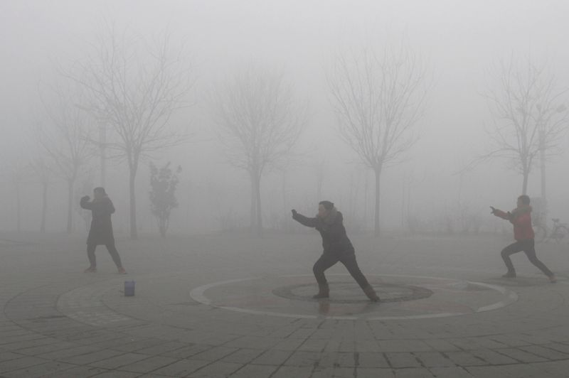 People practise Taiji on a foggy day at a park in Jiaozuo, central China's Henan province, January 28, 2013. China issued a blue-coded alert on Sunday as foggy weather forecast for the coming two days will cut visibility and worsen air pollution in some central and eastern Chinese cities, Xinhua News Agency reported. REUTERS/China Daily (CHINA - Tags: ENVIRONMENT) CHINA OUT. NO COMMERCIAL OR EDITORIAL SALES IN CHINA