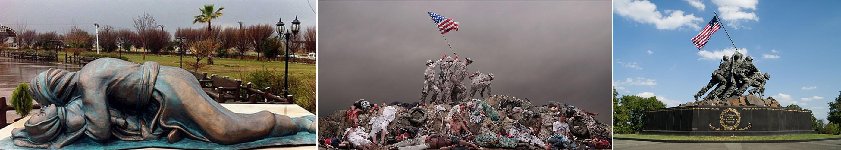 10 – مجسمهی یادبود ایوجیما، آرلینگتون، 1954- تصویر کامل «داستان یک پرچم» 1394- مجسمهی یادبود کشتار شیمیایی حلبچه 2003
