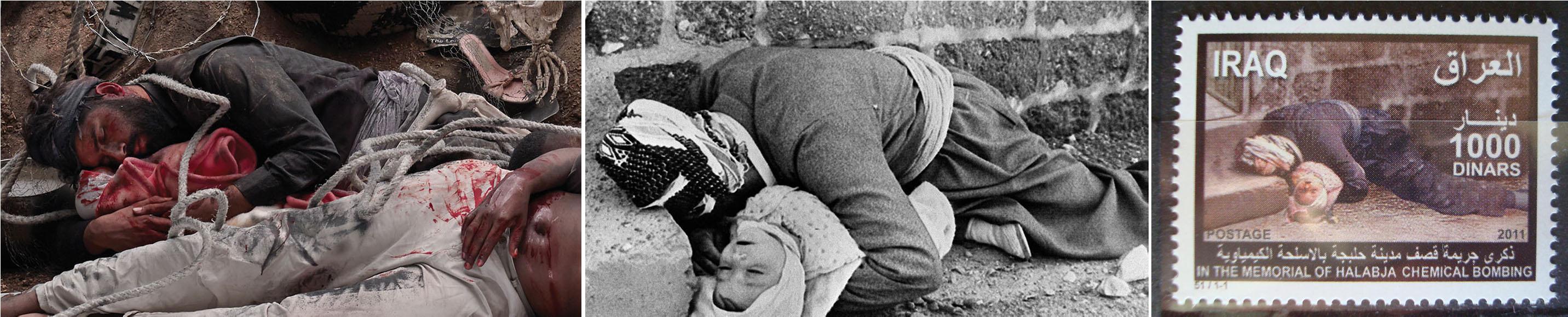 5 – تمبر مربوط به حلبچه 2011 عکس پدر و کودک (به احتمال قوی از بهرام صادقی)1366 بخشی از«داستان یک پرچم» 1394