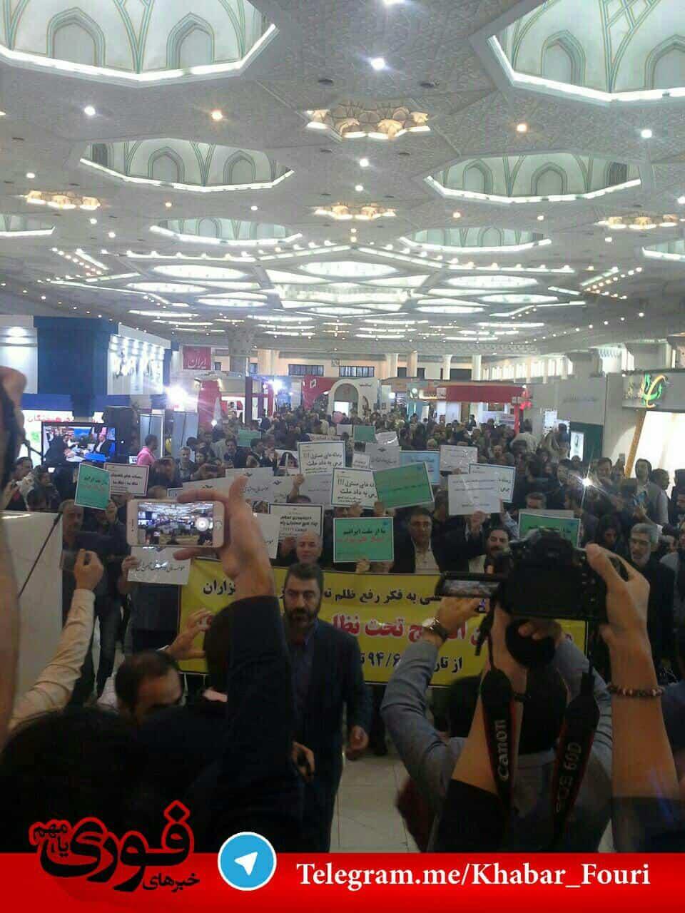 تجمع مالباختگان موسسه ثامنالحجج در نمایشگاه مطبوعات