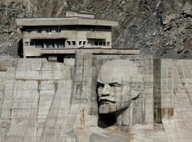 "A bas-relief depicting Soviet state founder Vladimir Lenin is seen on a dam of Kirov Reservoir in Talas region, western Kyrgyzstan, September 4, 2017. REUTERS/Shamil Zhumatov          SEARCH ""REVOLUTION RUSSIA"" FOR THIS STORY. SEARCH ""WIDER IMAGE"" FOR ALL STORIES. - RC19A8D70D10"