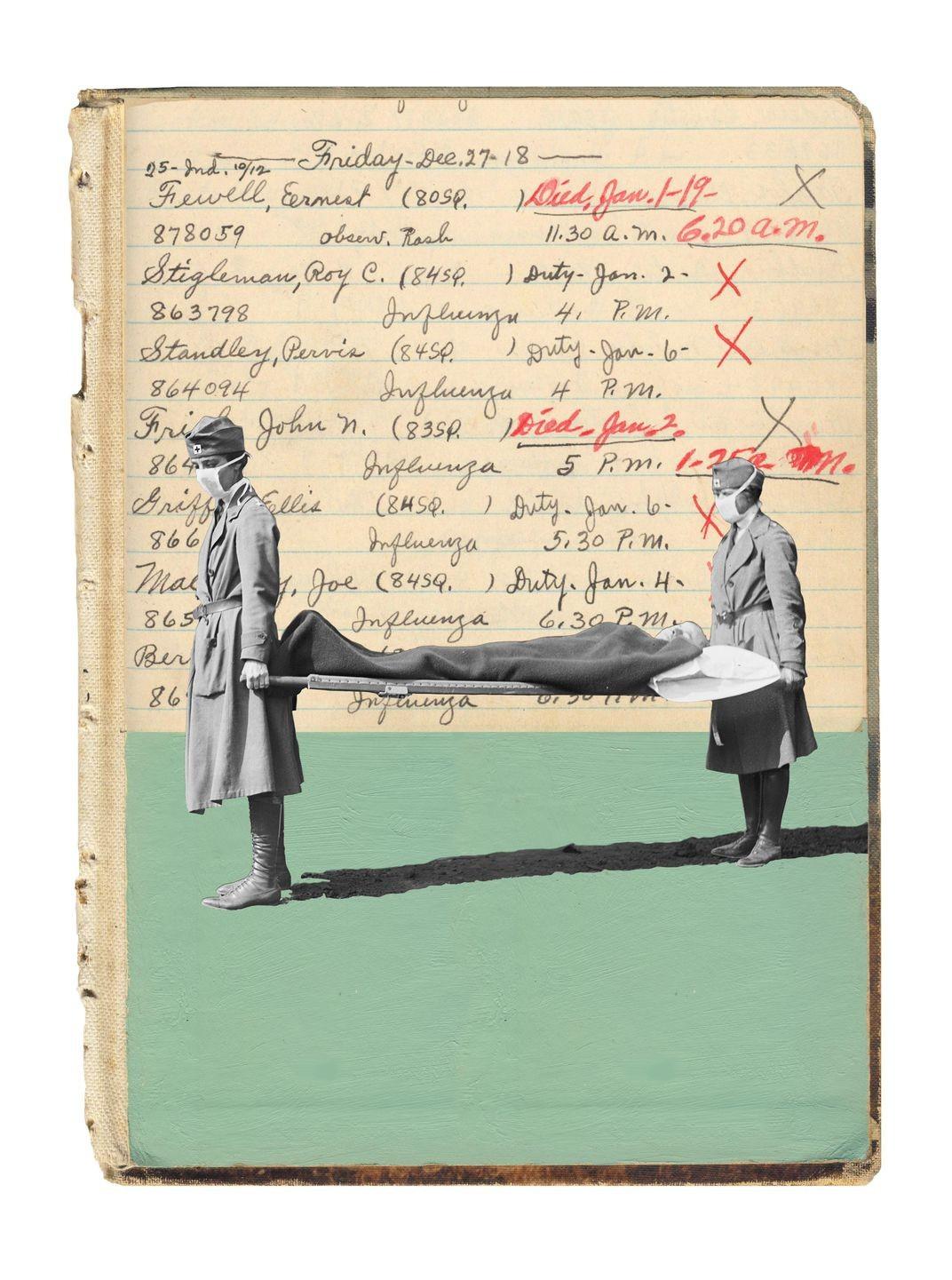 کارکنان صلیب سرخ در حال حمل برانکارد در ۱۹۱۸، نامها از دفتر بیمارستانی ارتشی هستند. (کلاژی از هالی چَستِین)