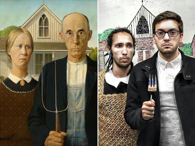 بازسازی نقاشیهای مشهور در قرنطینه خانگی