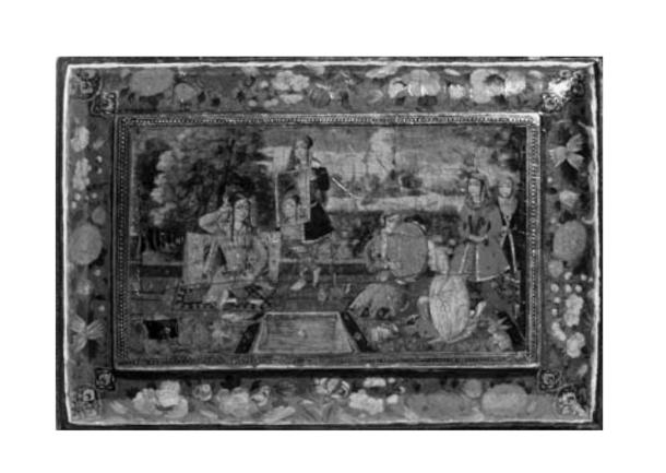 تصویر شماره 2 : صندوقچه با نقش زنانی در ایوان منتسب به محمدعلی بن زمان 1093 قمری. منبع: موزه ویکتوریا آلبرت، لندن، 1876-2405