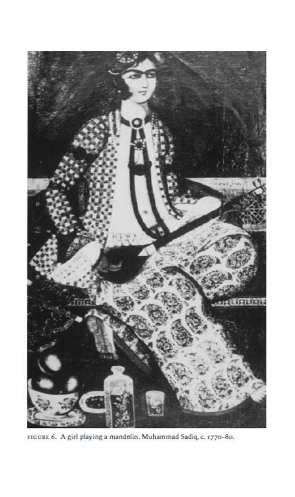 تصویر شماره 4: دختر نوازندهی سهتار، محمد صادق 1183-1193 قمری منبع: قبلا متعلق به مجموعهی فروغی بود اکنون معلوم نیست کجاست.