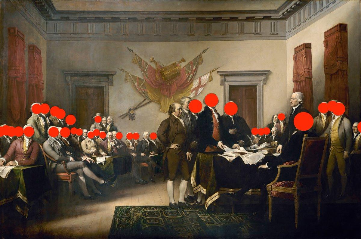 بردهداران در نقاشی معروف «اعلامیه استقلال آمریکا»