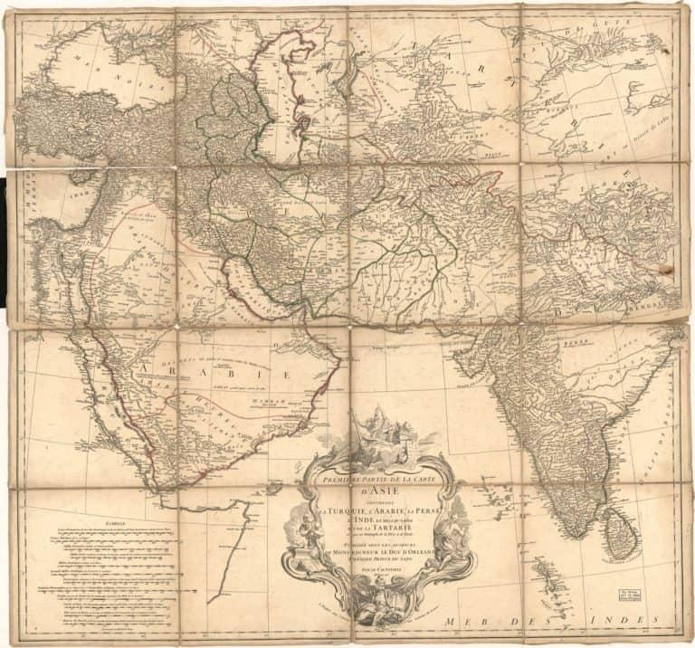 پارسی، زبان بینمللیِ بخش وسیعی از خاورمیانه، آسیای مرکزی و جنوبی بوده است. (نقشۀ آسیا در ۱۷۵۱ طرحِ ژان باتیست بورگینیون دانویل، نقشهنگار فرانسوی.)