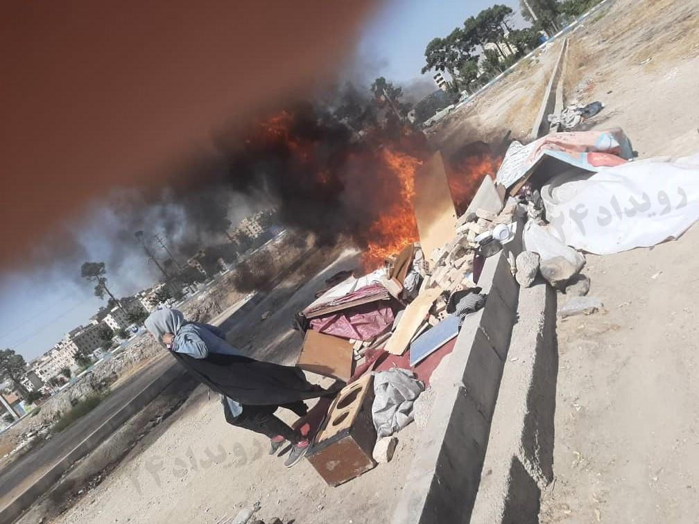 آتشزدن پناهگاه کارتنخوابان در نسیمشهر توسط شهرداری