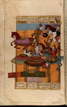 شاهنامه، کتاب حماسی فردوسی که در قرن ۱۱ میلادی تکمیل شد، در تمام دنیای پارسیزبان منتشر شد و قالبهای فراوانی به خود گرفت. تصویر فوق، صفحهای از یک مخطوطه متعلق به قرون ۱۷ و ۱۸ را در جنوب آسیا نشان میدهد.