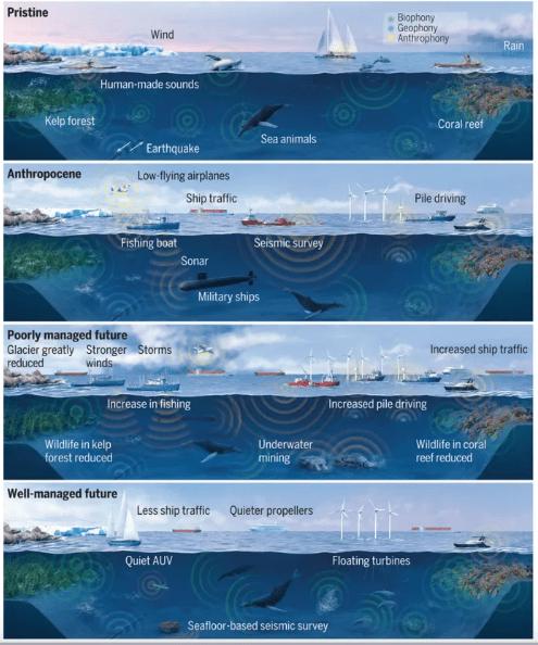 آلودگی در اقیانوس در دورانهای مختلف گذشته و آیندههای متصور