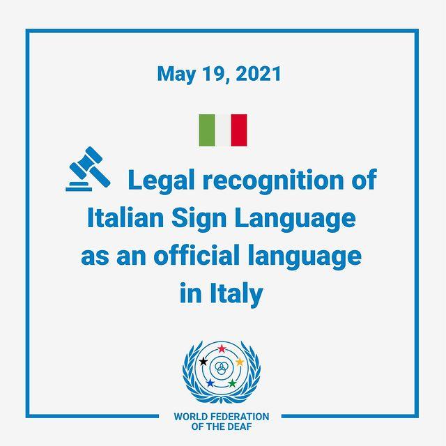 تصویب زبان اشاره ایتالیایی به عنوان یکی از زبانهای رسمی ایتالیا